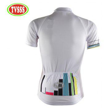 TVSSS Women Summer Short Sleeve Color Stripe Pattern White Cycling Jersey Suit - WHITE L