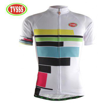 TVSSS Women Summer Short Sleeve Color Stripe Pattern White Cycling Jersey Suit - WHITE 2XL
