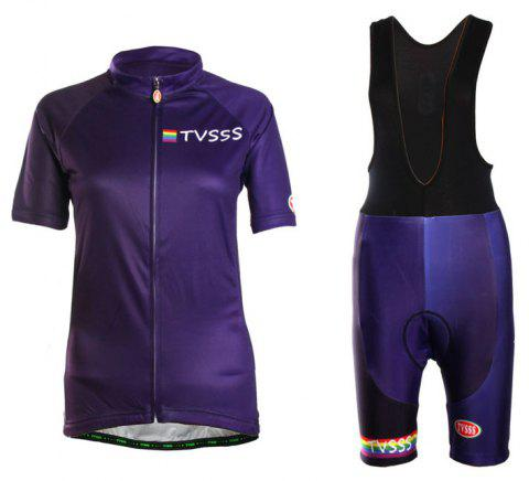 TVSSS Women Summer Short Sleeve Blue Cycling Jersey Suit - EGGPLANT XL