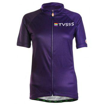 TVSSS Women Summer Short Sleeve Blue Cycling Jersey Suit - EGGPLANT 2XL
