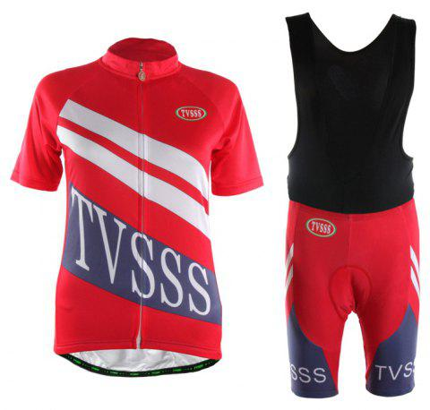 TVSSS Women Summer Short Sleeve White Twill Pattern Red Cycling Suit - RED S