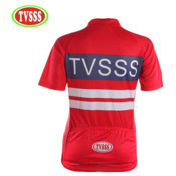TVSSS Women Summer Short Sleeve White Twill Pattern Red Cycling Suit - RED XL