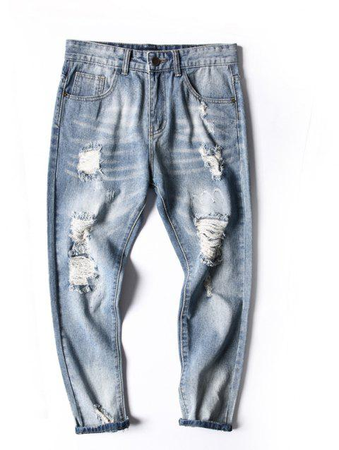 Simple and Stylish Men's Ripped Jeans - JEANS BLUE 33