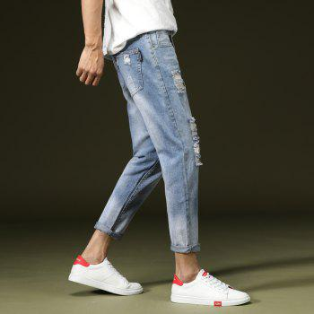 Simple and Stylish Men's Ripped Jeans - JEANS BLUE 31