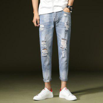 Simple and Stylish Men's Ripped Jeans - JEANS BLUE 29