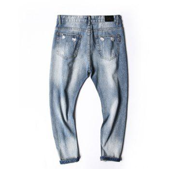 Simple and Stylish Men's Ripped Jeans - JEANS BLUE 28