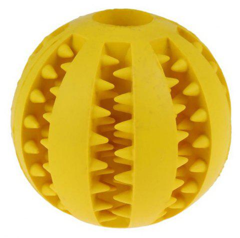 Pet Rubber Health Teeth Interactive Chew Toy Biting Dog Ball - GOLD