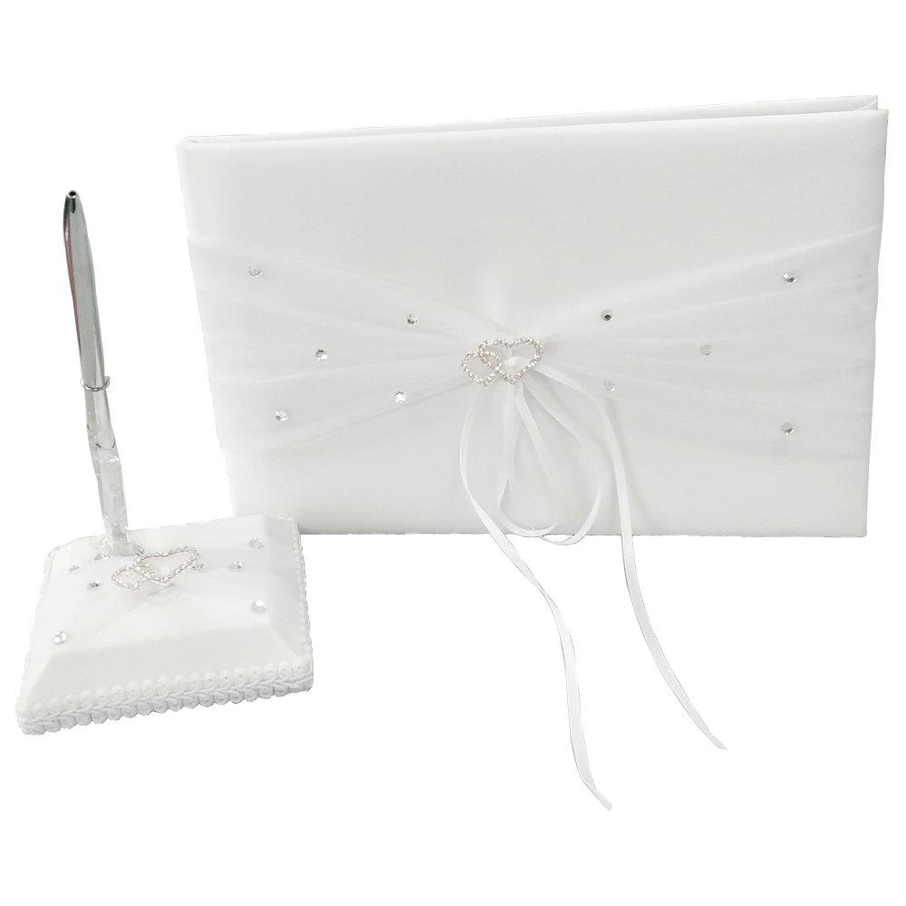 Guest Book Pen Set Satin Organza Garden Theme with Bow Rhinestones - WHITE