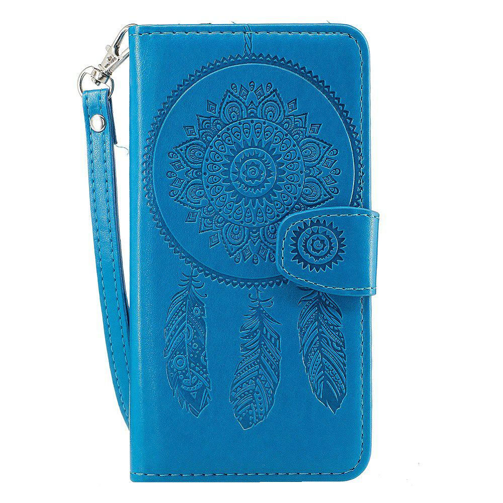 3D Embossed Wind Bell PU Leather Flip Folio Cover for Samsung Galaxy J7 2016 - BLUE