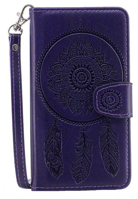 3D Embossed Wind Bell PU Leather Flip Folio Cover for Samsung Galaxy S5 - PURPLE