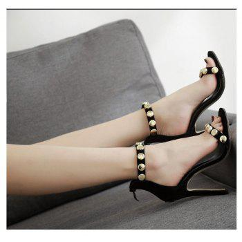 Black Flannelette Metal Sexy Fashion Simple Button Belt Sandals - BLACK 40