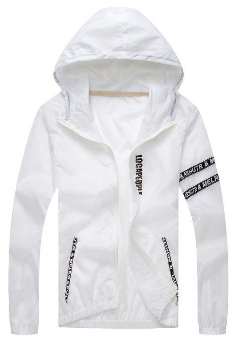 Spring New Fashion Alphabet Skin Jacket - WHITE 2XL