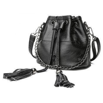 DA886Female Slate Bag with Single Shoulder Tassel - BLACK