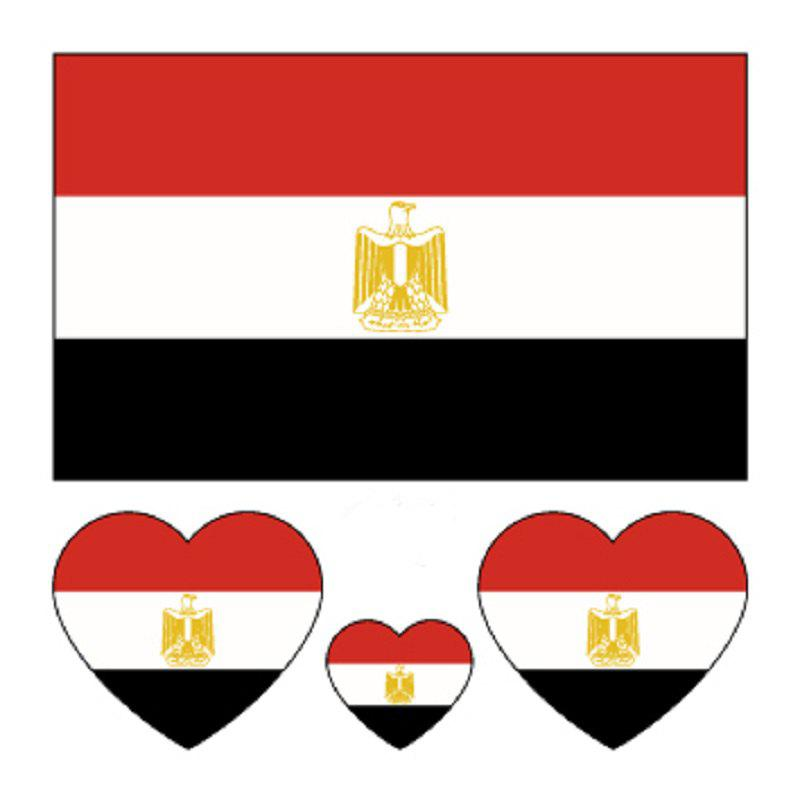 Egyptian Flag Football  Body Tattoo Stickers - multicolor