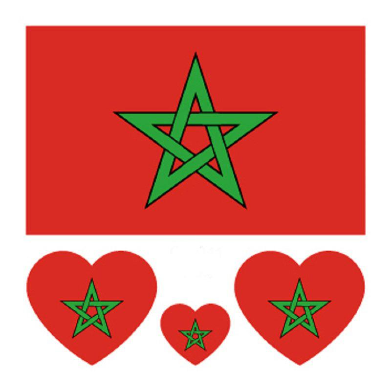 Moroccan Flag Football  Body Tattoo Stickers - multicolor