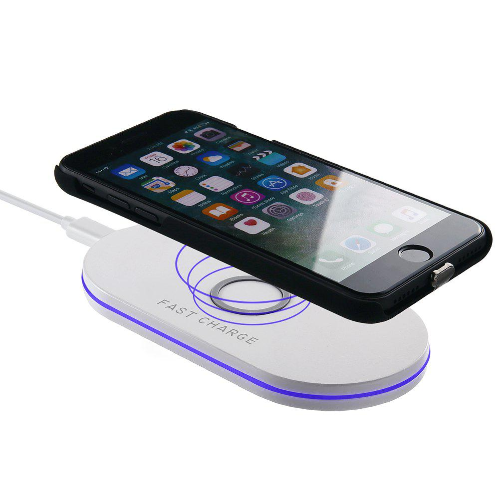 Fast Charge Wireless Charger Pad for iPhone X 8 Samsung Galaxy S8 S9  Note 8 - WHITE