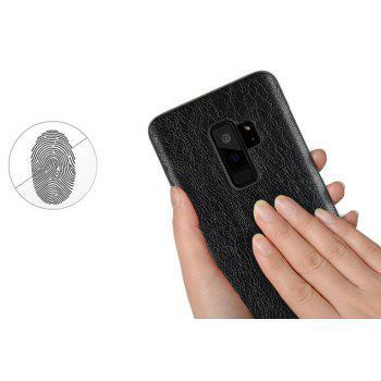 Retro Genuine Leather Hard Phone Case For Samsung Galaxy S9 Plus Back Cover - BLACK