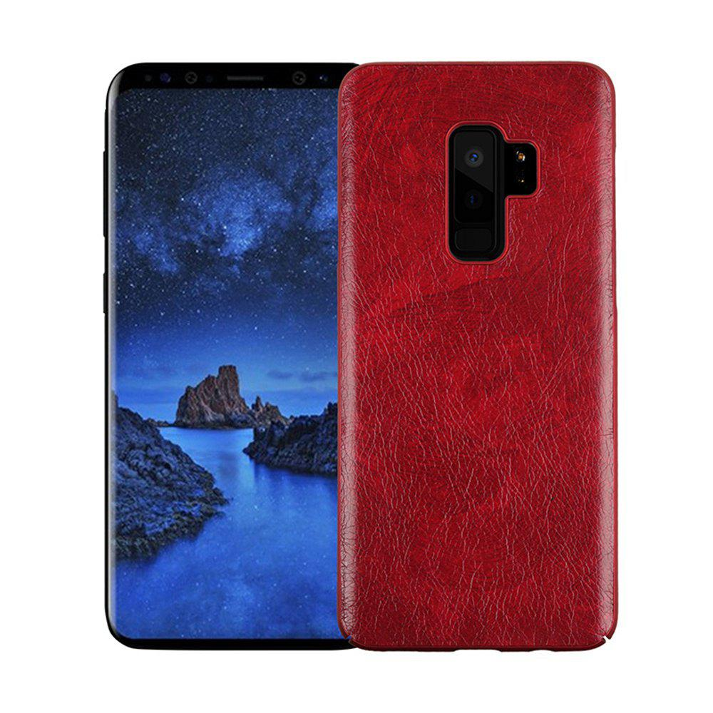 Retro Genuine Leather Hard Phone Case For Samsung Galaxy S9 Plus Back Cover - RED