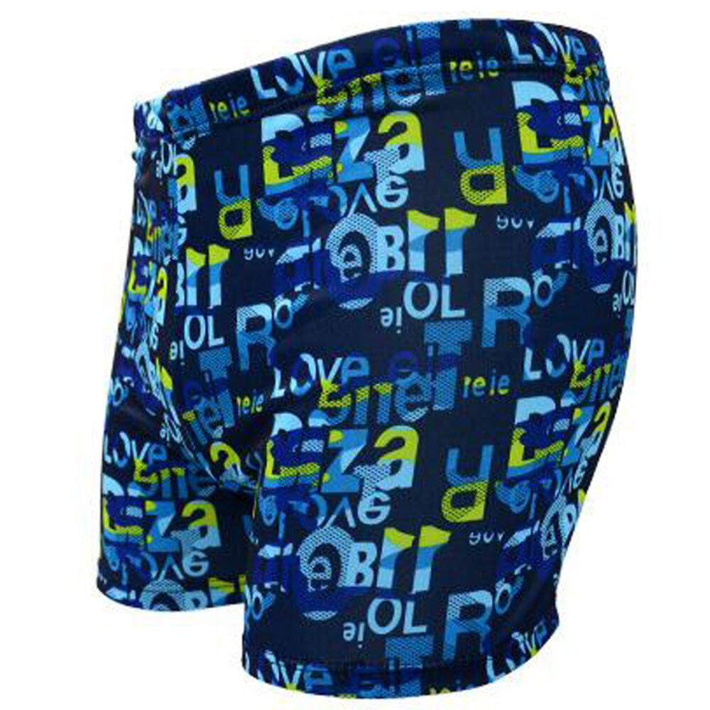 Men's Alphabet Printed Swimming Trunks - BLUE L