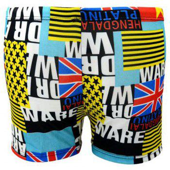 Men's Han Version of The Parquet Swimming Trunks - YELLOW ONE SIZE(FIT SIZE XS TO M)