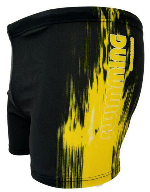 Men's Flat Point Sports Beach Swimming Trunks - YELLOW L