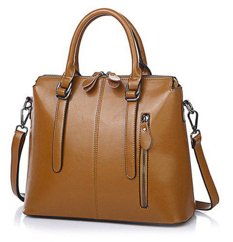 FOCOSH B-772 Fashion Leather Handbag Shoulder Bag - LIGHT BROWN