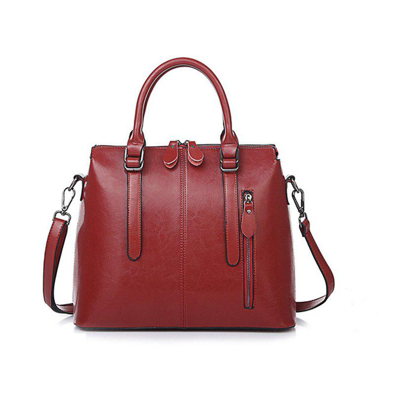 FOCOSH B-772 Fashion Leather Handbag Shoulder Bag - RED WINE