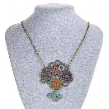 European and American Fashion Jewelry Steampunk Tree of Life Gear Necklace - DARK TURQUOISE