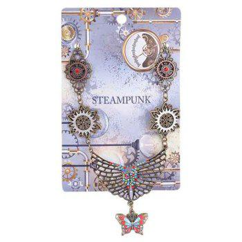 European and American Fashion Jewelry Steampunk Tree of Life Gear Alloy Necklace - multicolor