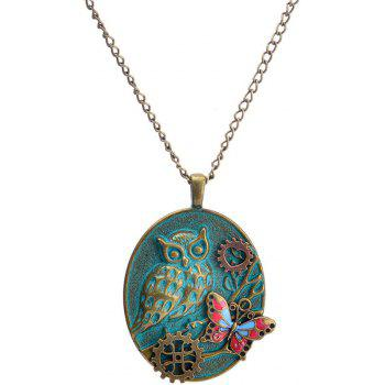 European and American Fashion Jewelry Steampunk Gear Owl Butterfly Necklace - DARK TURQUOISE