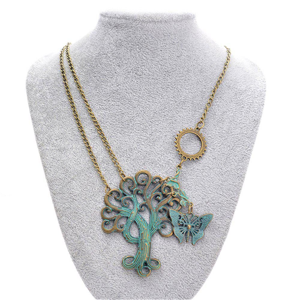 Europe and America Exaggerated Ornaments Steampunk Gears Life Tree Necklace - DARK TURQUOISE