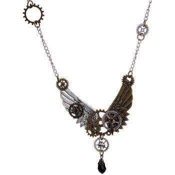 European and American Trade Jewelry Steampunk Gear Wings Pendant Necklace - multicolor