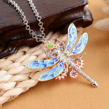 New European and American Fashion Jewelry Steampunk Gear Diamond Color Necklace - DODGER BLUE