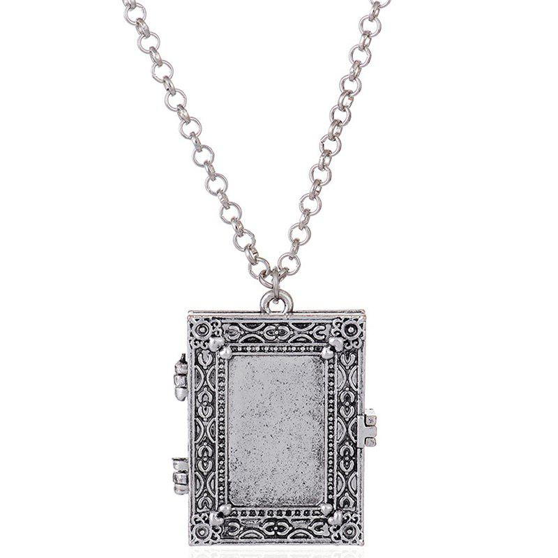 Exaggerated Gothic Photo Frame Box Alloy Pendant Necklace - SILVER
