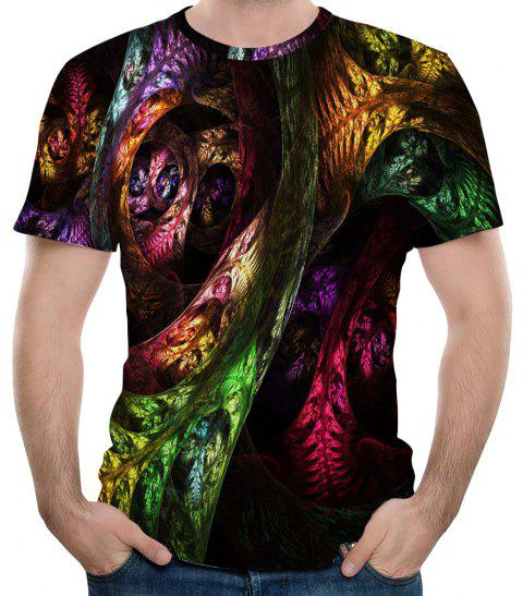 2018Summer New Casual Fashion 3D Printed Men's Short Sleeve T-shirt - multicolor XL
