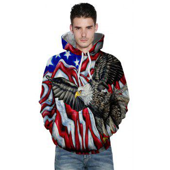 Winter New Fashion Eagle 3D Printing Men's Hoodie - multicolor XL