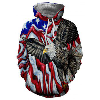 Winter New Fashion Eagle 3D Printing Men's Hoodie - multicolor 2XL