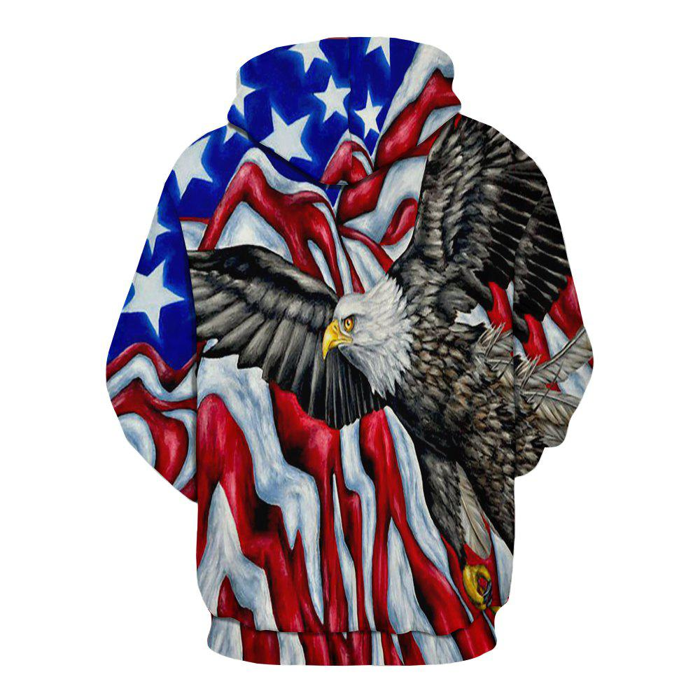 Winter New Fashion Eagle 3D Printing Men's Hoodie - multicolor S