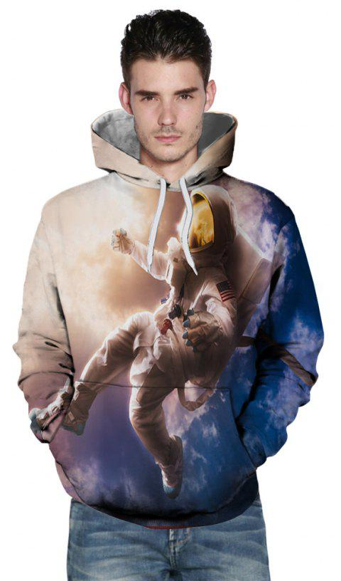 Fashion New Astronaut 3D Printing Men's Hoodie - multicolor L
