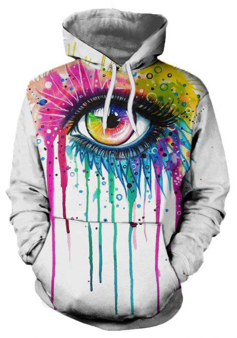 2018 New Fashion Trend 3D Printing Long-Sleeved Hooded Patch Pocket Hoodie - WHITE XL