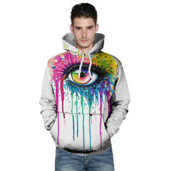 2018 New Fashion Trend 3D Printing Long-Sleeved Hooded Patch Pocket Hoodie - WHITE S