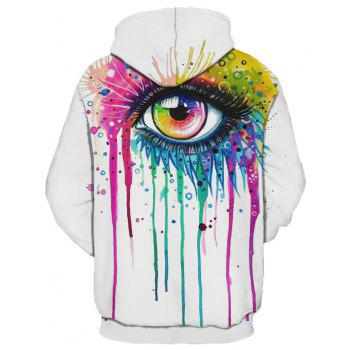 2018 New Fashion Trend 3D Printing Long-Sleeved Hooded Patch Pocket Hoodie - WHITE M
