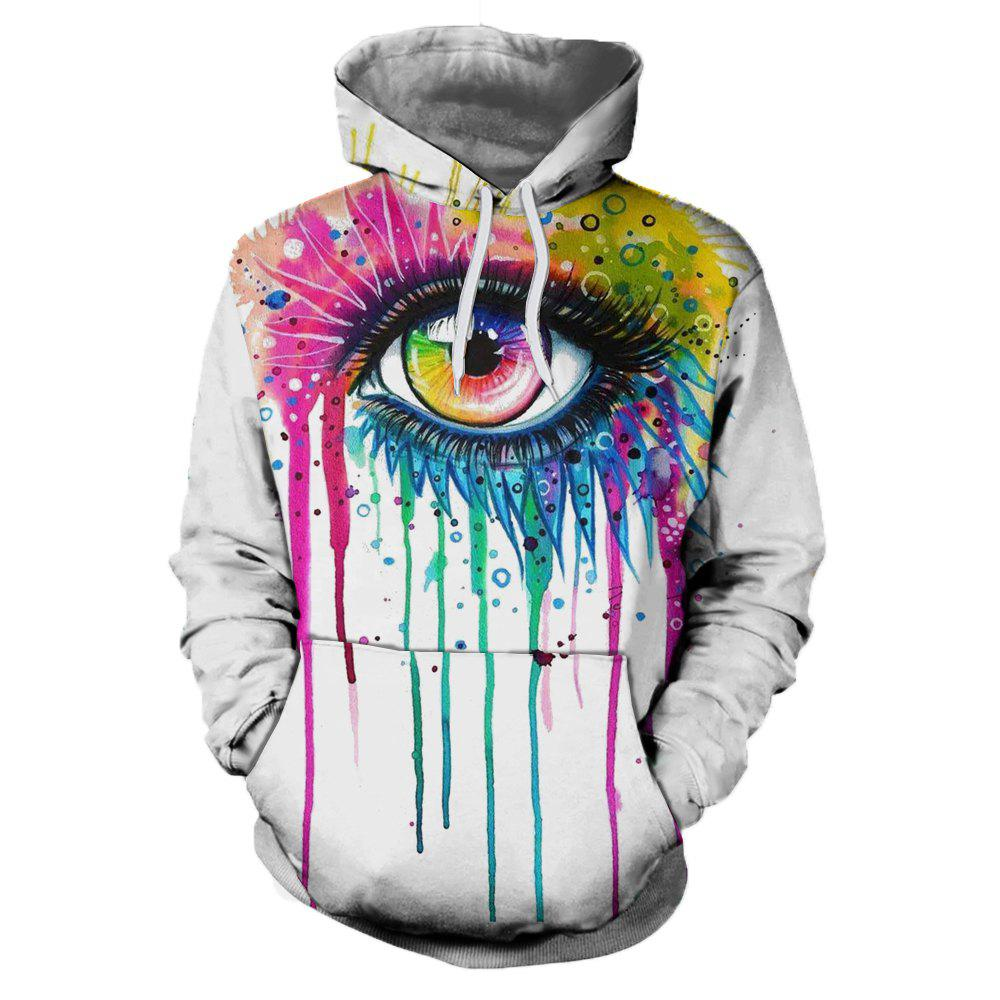 2018 New Fashion Trend 3D Printing Long-Sleeved Hooded Patch Pocket Hoodie - WHITE L