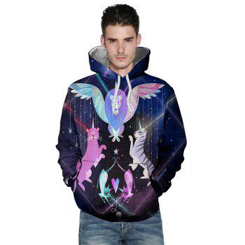 3D Printing Men's Long-Sleeved Hooded Patch Pocket Sweatshirt - multicolor O 3XL