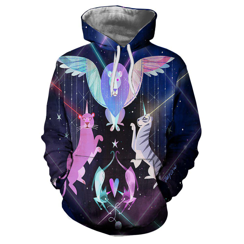 3D Printing Men's Long-Sleeved Hooded Patch Pocket Sweatshirt - multicolor O 2XL