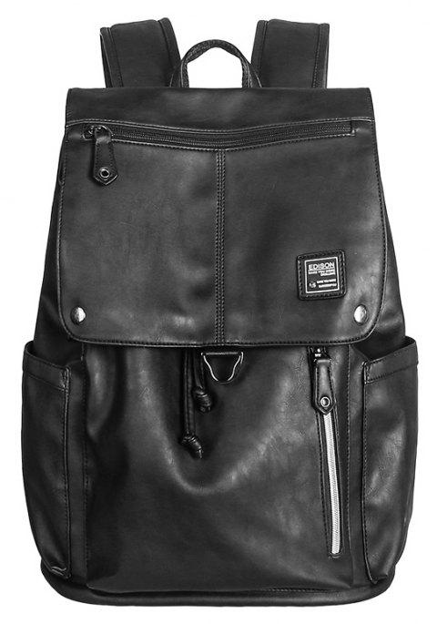 EDIOSN Pu Leather Laptop Bag Waterproof Casual Travel Backpack - BLACK