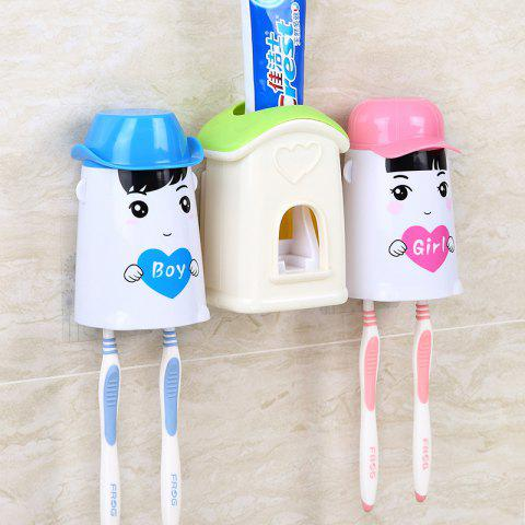 Wall Suction Toothpaste Toothpaste Automatic Toothpaste Couple Wash Sets - GREEN 24X8X13CM