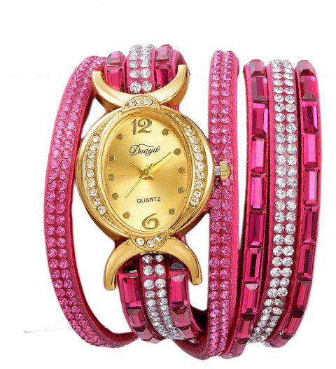 DUOYA D183 Ladies Rhinestones Analog Quartz Leather Bracelet Wrist Watch - ROSE RED