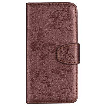 Cover Case for Samsung Galaxy S9 Mirror Shell Butterfly and Flower Pattern - BROWN