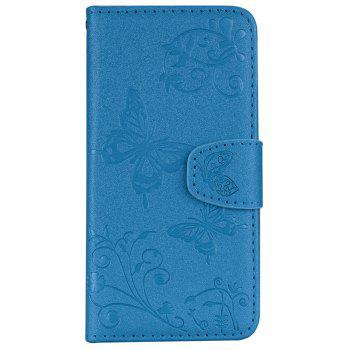 Cover Case for Samsung Galaxy S9 Plus Mirror Shell Butterfly and Flower Pattern - DEEP SKY BLUE